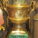 Pair Barbedienne Neoclassical Gilt Bronze and Malachite Jardinieres Vases