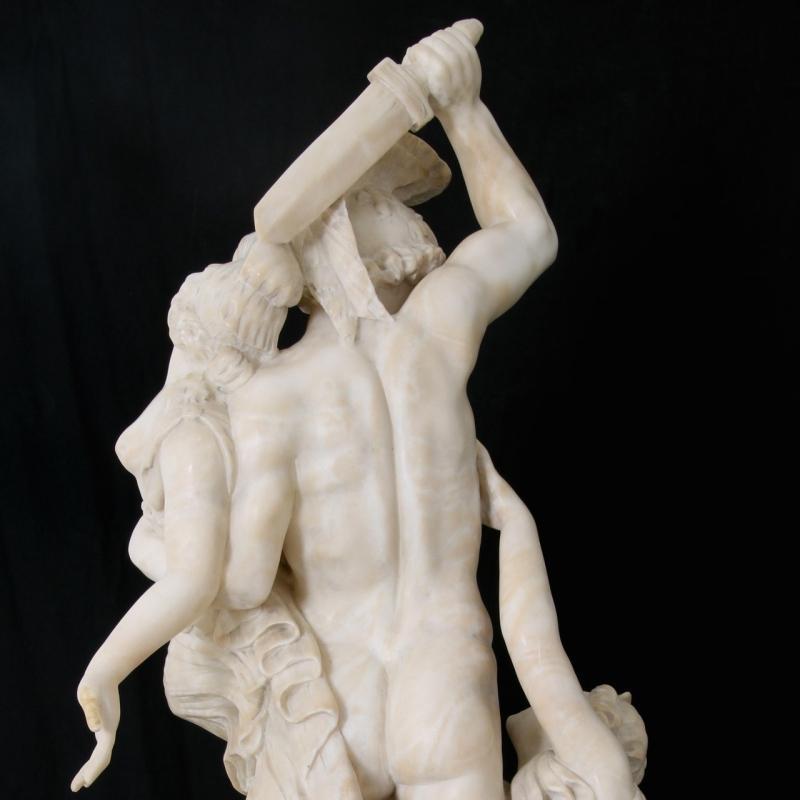 Alabaster Statue of Achilles Rape of Polyxena After Pio Fedi (1815-1892)