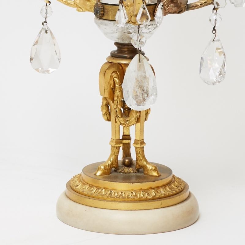 Pair Russian or Swedish Antique Gilt Bronze and Crystal Candelabra