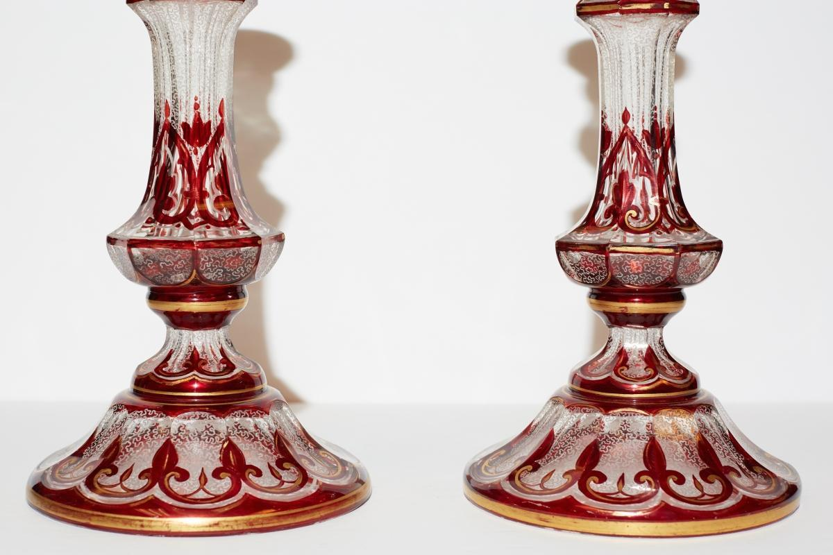 Pair Antique Parcel Gilt Ruby Red and Clear Glass Candlesticks