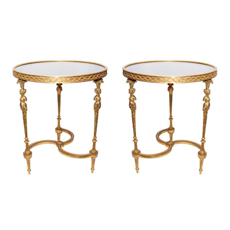 Pair Louis XVI Style Gilt Bronze Gueridon Tables After Adam Weisweiler