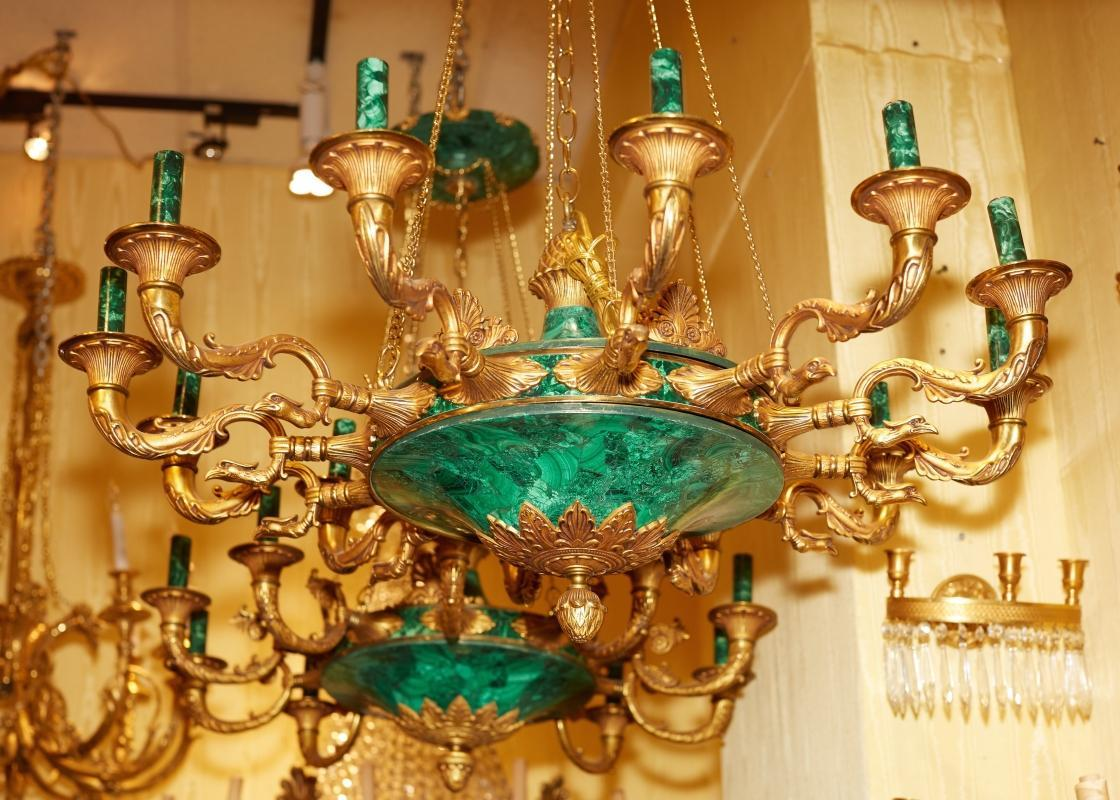 Pair French Empire Style Bronze & Malachite Chandeliers