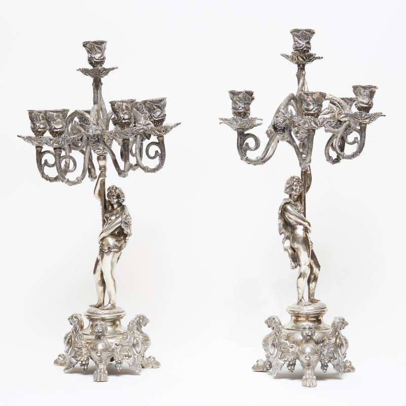 Pair Antique Baroque Style Silvered Bronze Candelabra