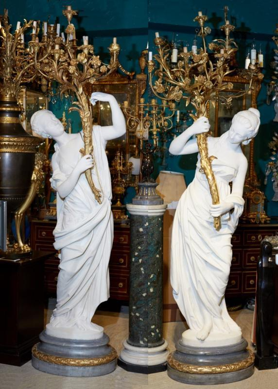 Henri Allouard (1844-1929) Lifesize Neoclassical Figural Marble and Gilt Bronze Candelabra