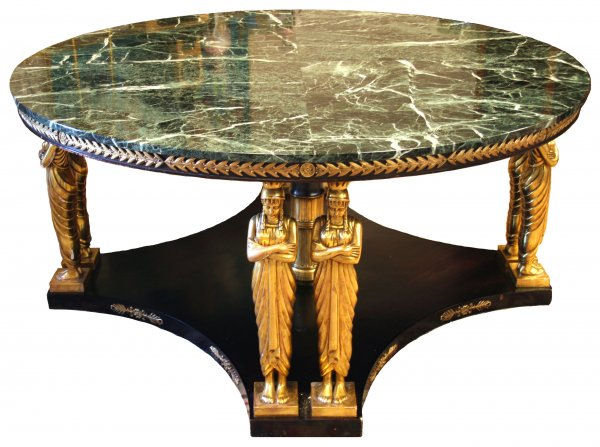 French Empire Revival Classical Marble Center Table