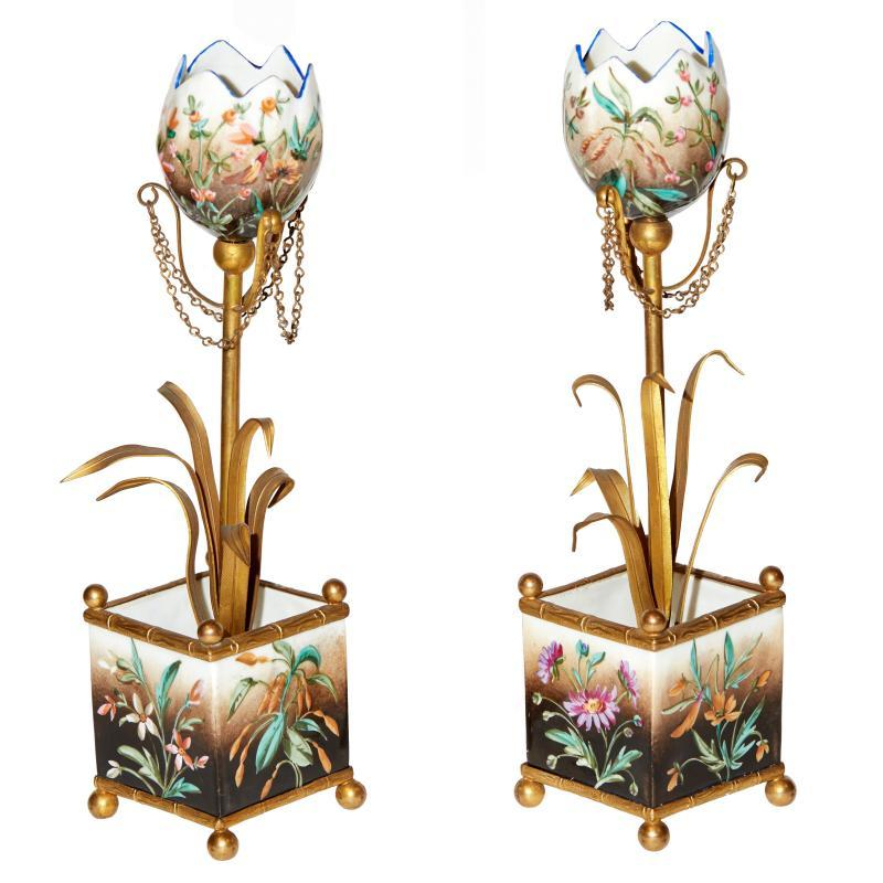 Pair Antique French Porcelain and Bronze Planted Tulip