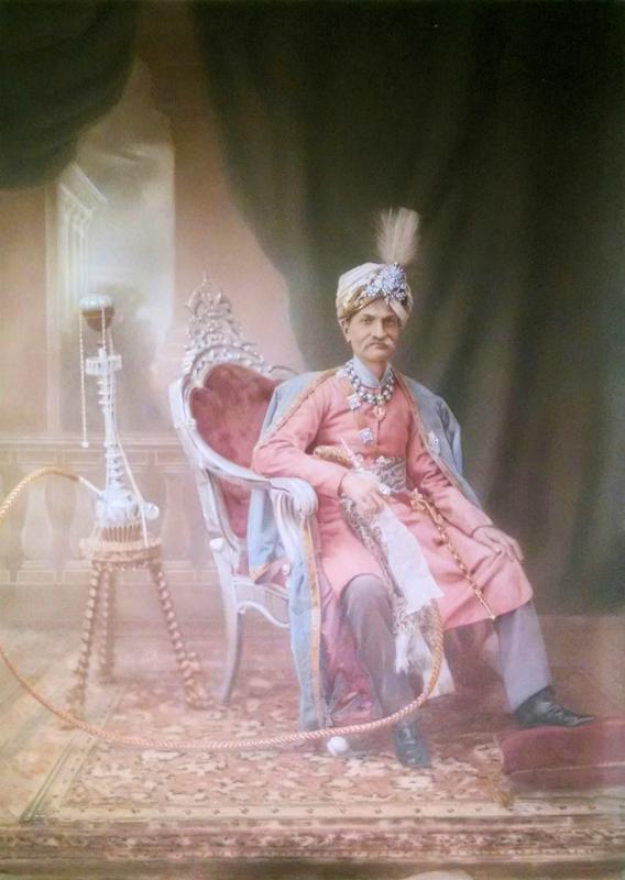 British School Portrait Oil Painting of Rajput Indian Maharaja