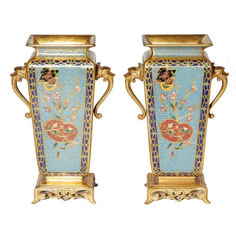 Pair Japonisme Gilt Bronze Champleve and Cloisonne Vases