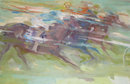 Abstract Thoroughbred Horse Race Oil on Canvas by Helen Van Tempera