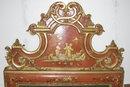 Antique Vermilion Red Chinoiserie Mirror