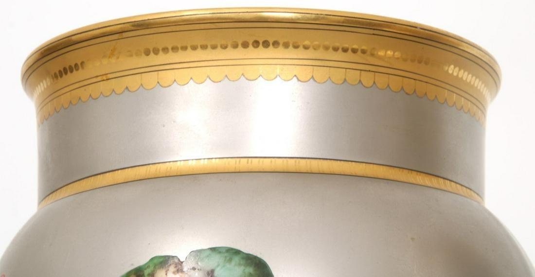 Pair Paris Porcelain Platinum Ground Vases with Hand-Painted Songbirds