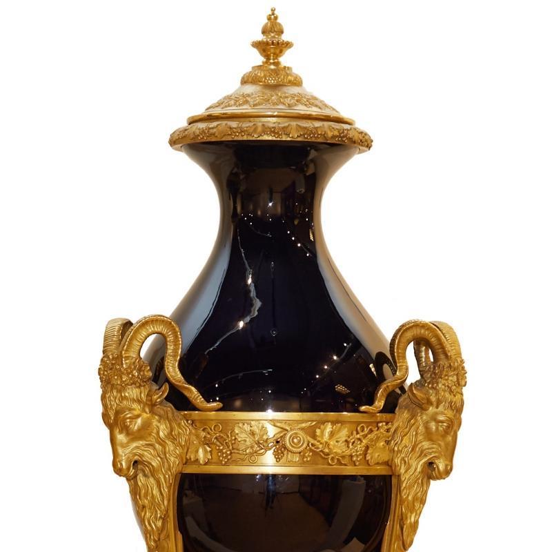 Louis XVI Style Ormolu Sevres Cobalt Blue Porcelain Cassolettes in Atheniennes