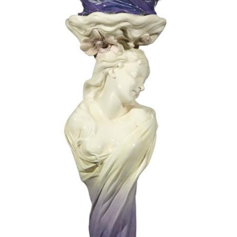 Delphin Massier Art Nouveau Majolica Jardiniere on Stand