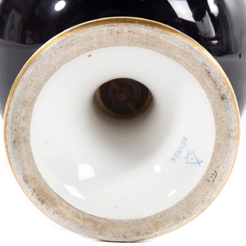 Large Antique Sevres Style Campana Porcelain Portrait Vase