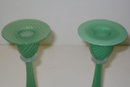 Pair Vintage Steuben Jade Green Glass Candlesticks