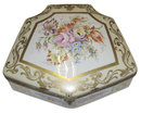 Large Antique Yellow Fan Shaped Porcelain Dresser Box with Floral Decoration