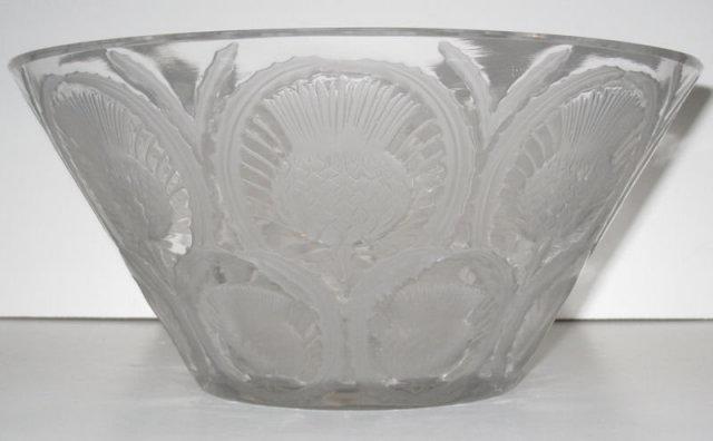 Lalique Mid-Century Chardons Thistle Glass Bowl