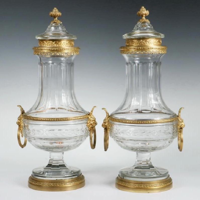 Pair Antique Gilt Bronze Mounted Cut Crystal Glass Urns
