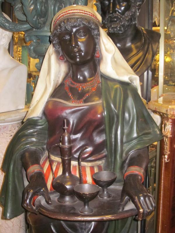 Pair Lifesize Orientalist Cast Metal Female Statues / Sculptures