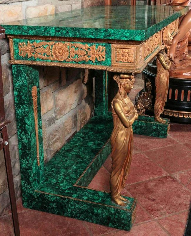 French Empire Style Bronze and Malachite Console Table