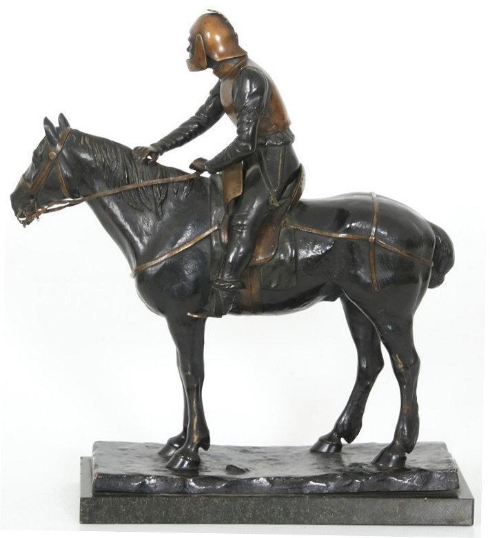 A. von Strantz Reconquista Armored Knight on Horseback Bronze Sculpture