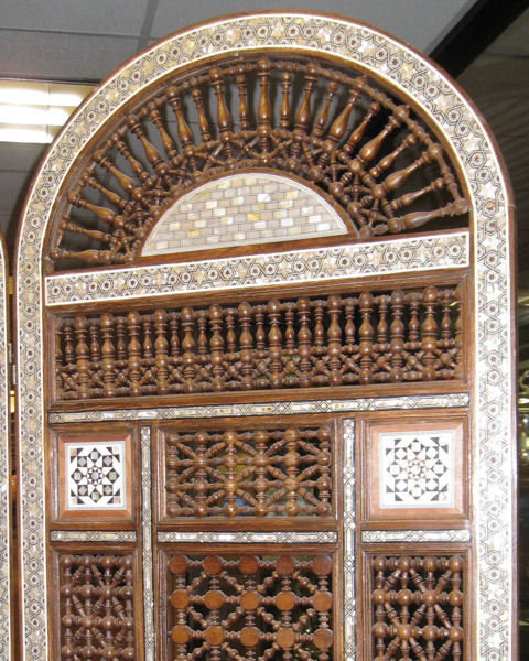 Moroccan Mother-of-Pearl & Bone Inlaid 3-Panel Wooden Screen