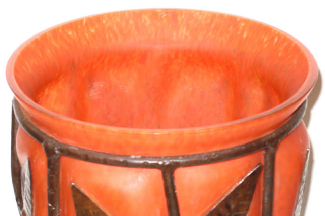 Art Deco Metal Mounted Red and Orange Glass Vase in Style of Louis Majorelle