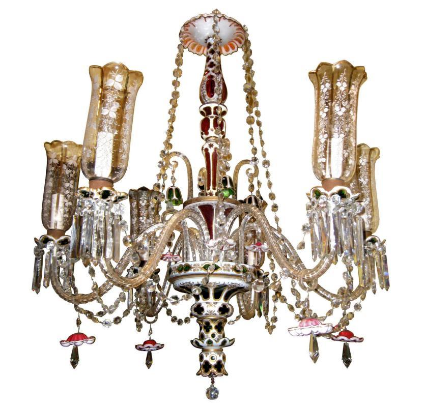 Antique Bohemian White Ruby and Green Overlay Glass Chandelier