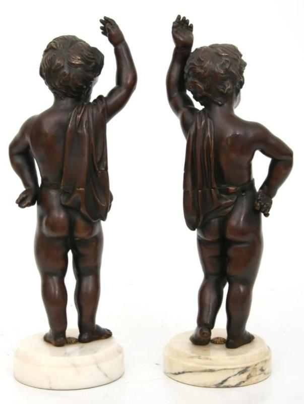 Pair Patinated Bronze Putti in Manner of Clodion