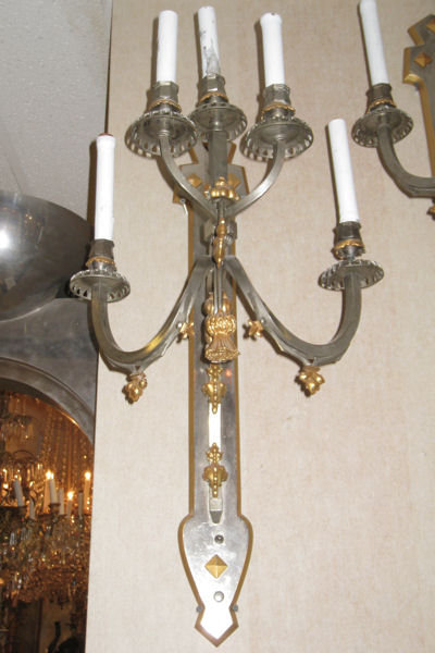 Pair of Partially Gilt Steel Sconces in Gothic Style