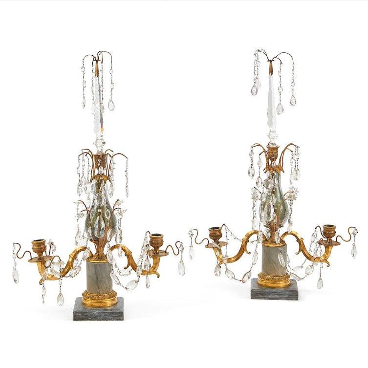 Pair Antique Baltic or Russian Gilt Bronze and Marble Candelabra