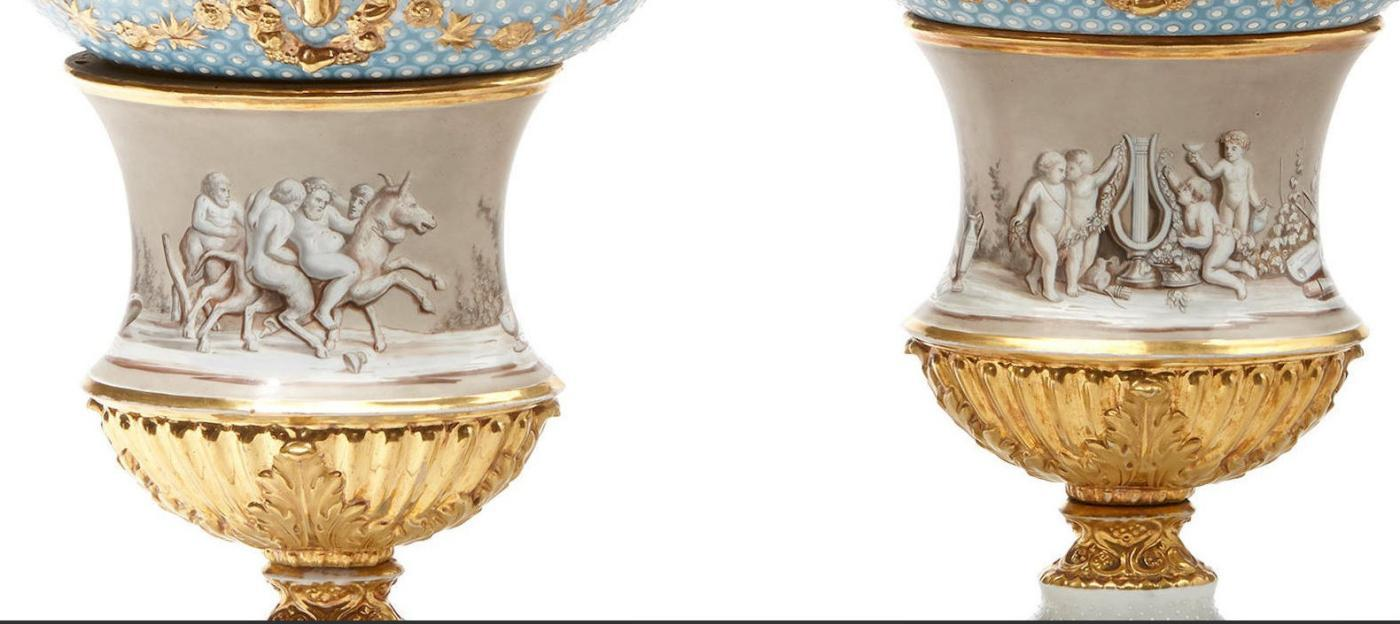Pair French Neoclassical Porcelain Vases