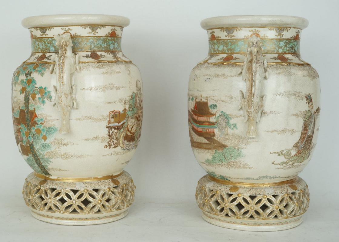 Pair Antique Chinese Satsuma Koros Incense Burners Vases