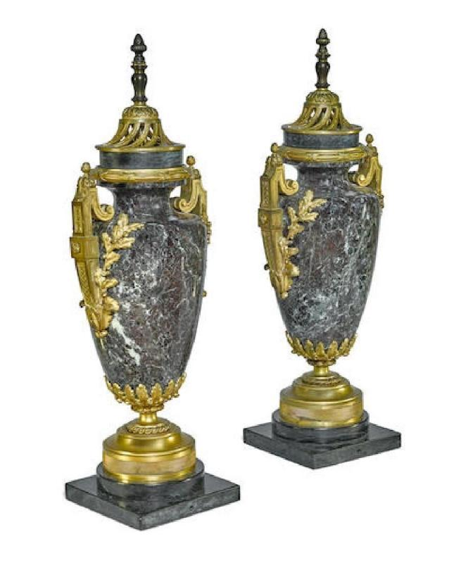 Pair Gilt Bronze Mounted Marble Urns