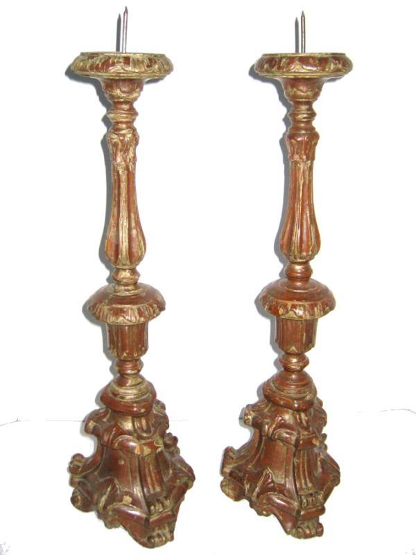 Pair Ecclesiastical Wooden Candle Stands / Prickets