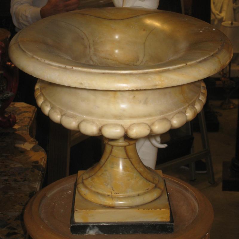 Pair Neoclassical Italian Siena Marble Jardinieres