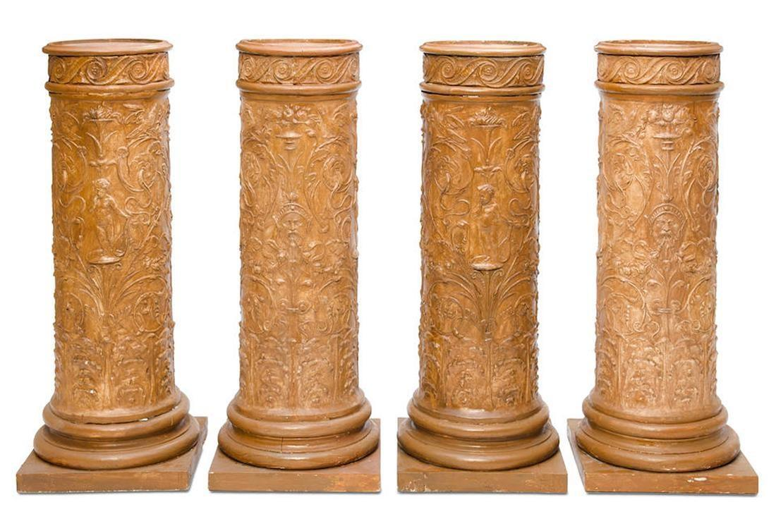 Set of Four (4) Neoclassical Faux Terracotta Plaster Pedestals