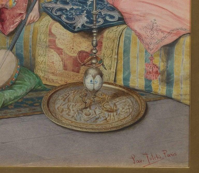Paolo Folchi Italian Orientalist Watercolor Painting