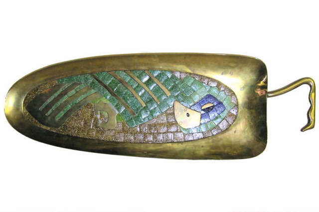 Mid-Century Parrot Mosaic Brass Tray by Salvador Teran