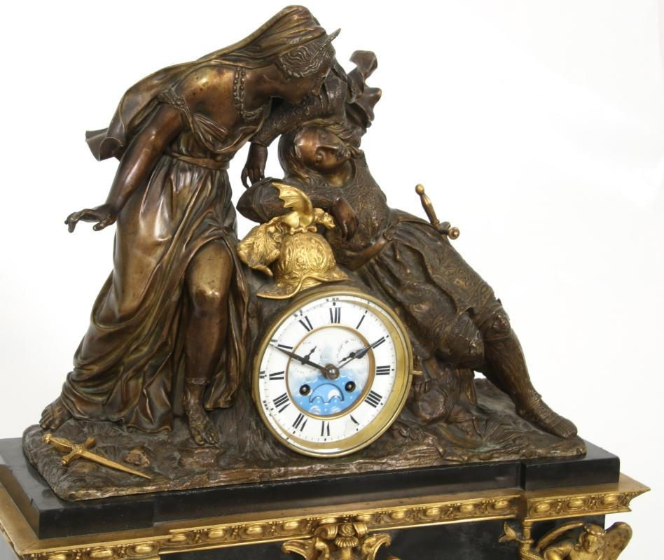 Gothic Armorial Gilt and Patinated French Bronze Mantel Clock
