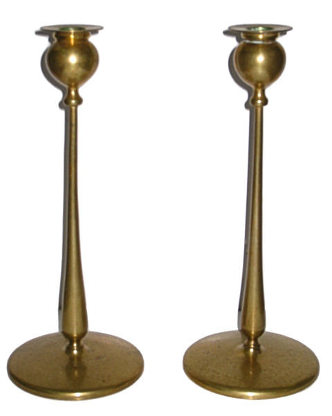 Pair Antique Arts & Crafts Brass Candlesticks In Manner of Robert Jarvie