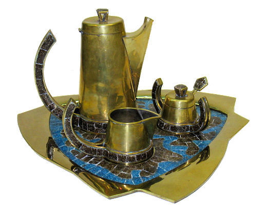 Mid-Century Modern Salvador Teran Brass & Mosaic Tile Tea and Coffee Set