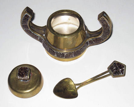Mid-Century Modern Salvador Teran Brass & Mosaic Tile Tea and Coffee Set