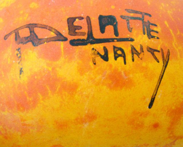 Art Deco Period Mottled Orange Glass Vase by André Delatte