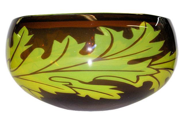 Jan Johansson Orrefors Glass Bowl with Oak Tree Leaf Motif