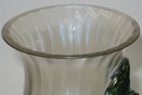 Bohemian Glass Vase with Applied Grapes by Kralik
