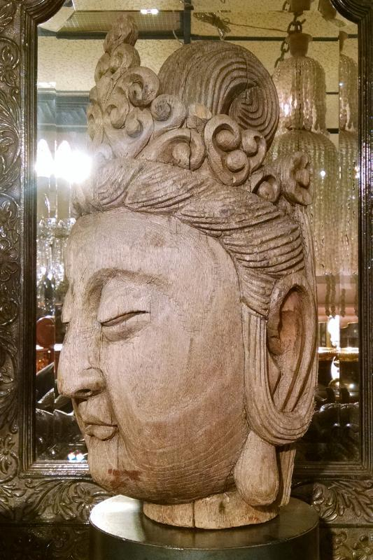 Carved Wooden Buddha Head