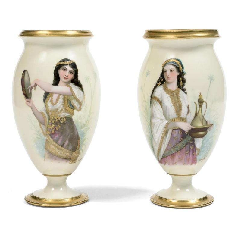 Pair Extraordinary Orientalist Figural Painted Porcelain Vases