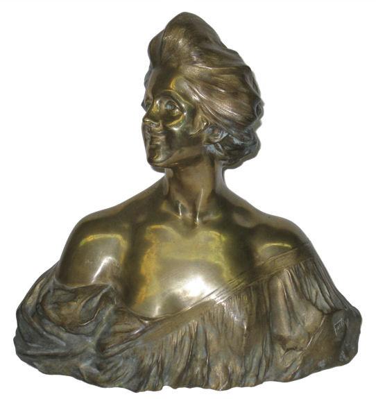Antique Art Nouveau Female Bronze Bust by Fortiny