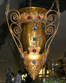 Antique French Style Hanging Lamp with Iridescent Quezal Glass Shade